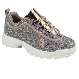 NEW MULTI GLITTER ROSE GOLD METALLIC SNEAKERS SHOE